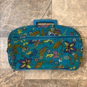 Vintage Boho 1970s Aqua Flower Mini Suit Case Bag